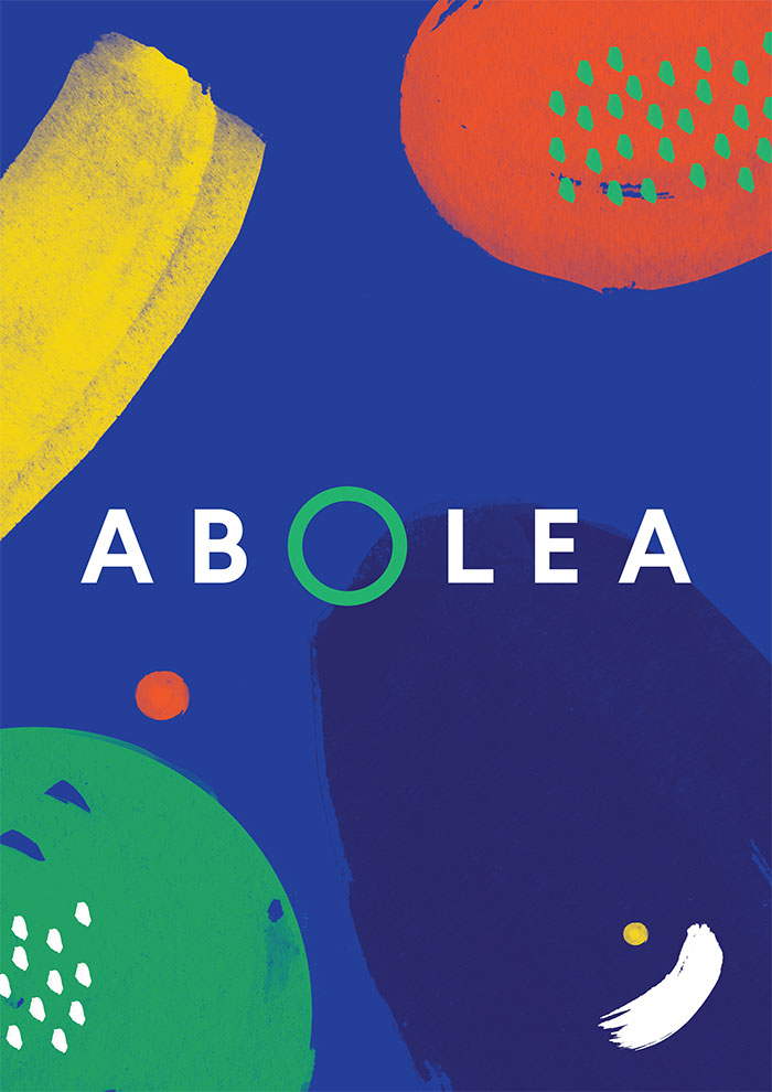 Abolea. Branding for California-Spanish fusion restaurant in Madrid. Abstract brush-strokes represent the ingredient palette.