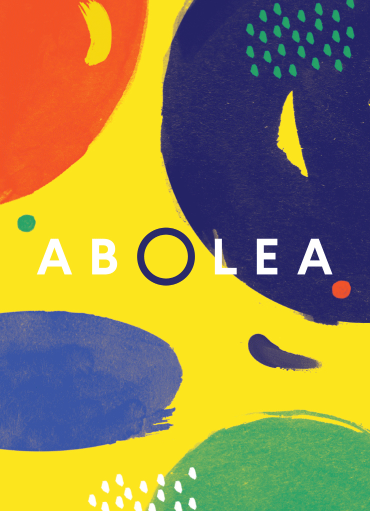 Abolea. Brand identity for California-Spanish fusion restaurant in Madrid. Abstract brush-strokes represent the vibrant ingredient palette.
