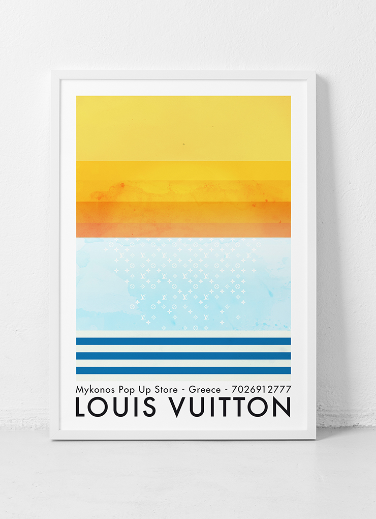 Louis Vuitton. Print promoting the grand-opening of the LV Mykonos pop-up store.